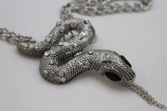 Alwaystyle4you Women Necklace Silver Metal Chains Snake Pendant Charm Rhinestones Image 6