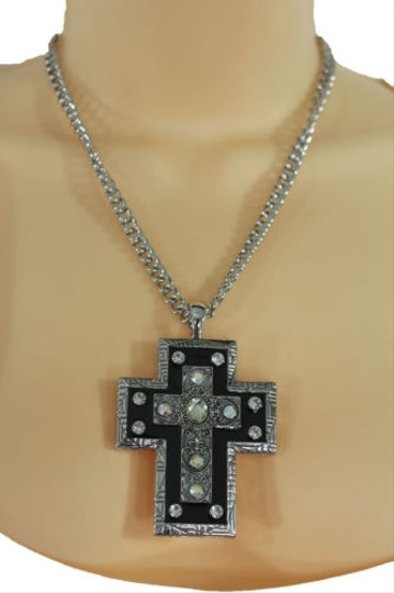 Alwaystyle4you Women Necklace Silver Metal Chains Cross Pendant Bead Charm Celtic Image 1