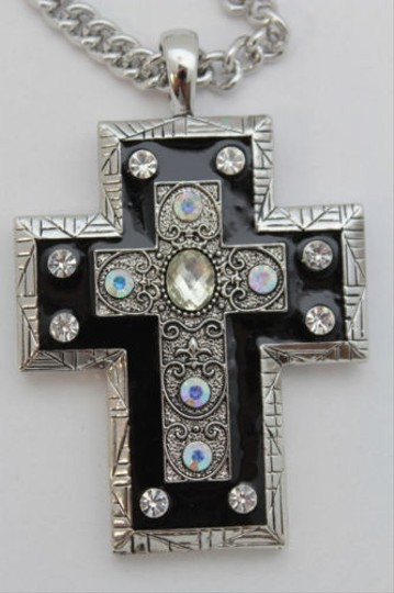 Alwaystyle4you Women Necklace Silver Metal Chains Cross Pendant Bead Charm Celtic Image 10