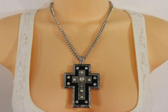 Alwaystyle4you Women Necklace Silver Metal Chains Cross Pendant Bead Charm Celtic Image 2