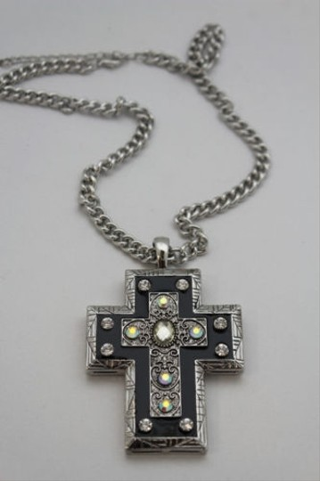 Alwaystyle4you Women Necklace Silver Metal Chains Cross Pendant Bead Charm Celtic Image 3