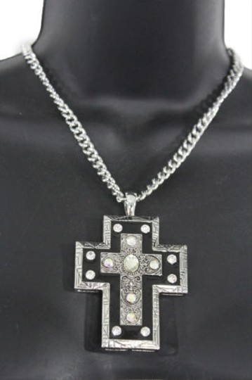 Alwaystyle4you Women Necklace Silver Metal Chains Cross Pendant Bead Charm Celtic Image 4
