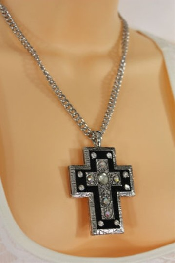 Alwaystyle4you Women Necklace Silver Metal Chains Cross Pendant Bead Charm Celtic Image 5