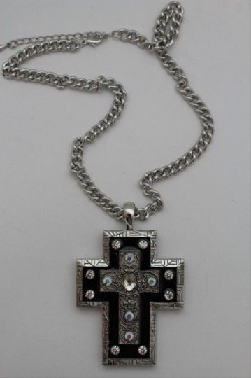 Alwaystyle4you Women Necklace Silver Metal Chains Cross Pendant Bead Charm Celtic Image 6