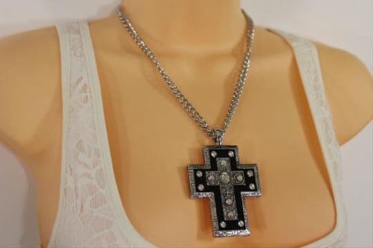 Alwaystyle4you Women Necklace Silver Metal Chains Cross Pendant Bead Charm Celtic Image 7