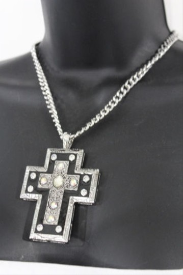Alwaystyle4you Women Necklace Silver Metal Chains Cross Pendant Bead Charm Celtic Image 8