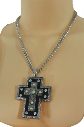 Alwaystyle4you Women Necklace Silver Metal Chains Cross Pendant Bead Charm Celtic Image 9