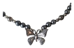 Hematite Butterfly Pendant Black Pearl Beaded Necklace