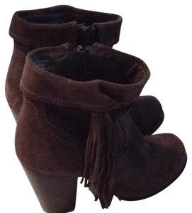 Sbicca Fringe Dark Green/brown Booties Boots