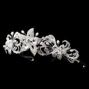 Silver Freshwater Pearl Swarovski Crystal Bead And Rhinestone Floral Wedding Bridal Headband Tiara