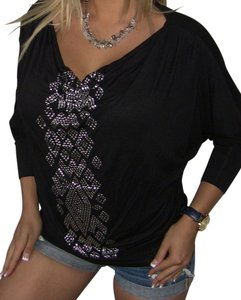Other Polyester Flowy Metallic Silver Top Black