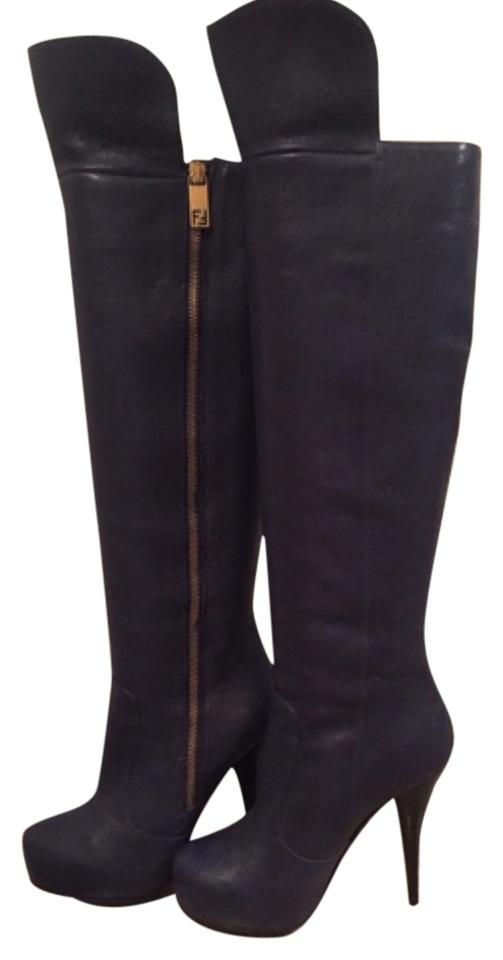 7354027473d Fendi Navy Over The Knee Boots Booties Size US 7 Regular (M