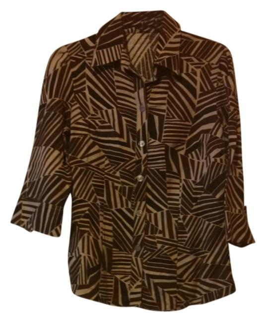 Item - Brown/Tan Linen Small Blouse Size 6 (S)