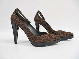 Stuart Weitzman Anchor Spotted Cat Suede Ankle Strap Heels Brown Pumps
