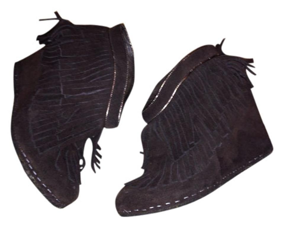 Free Bohemian People Brown Bohemian Free Frayed Fringe Leather Rare Boots/Booties 0f0791