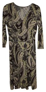 Ann Taylor Sophisticated Paisley Beige Brown Green Dress