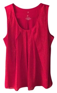 New York & Company Top Bright Red with gold flecks
