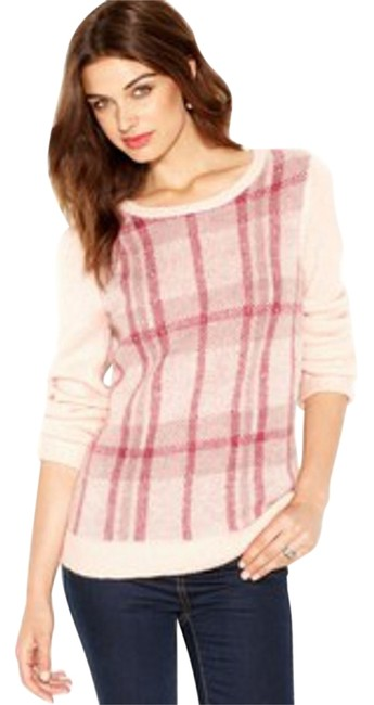 Preload https://img-static.tradesy.com/item/6794956/maison-jules-pink-long-sleeve-crew-neck-plaid-sweaterpullover-size-6-s-0-1-650-650.jpg