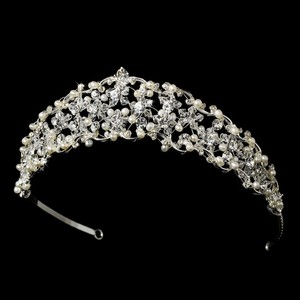 Silver Lovely Freshwater Pearl Swarovski Crystals Rhinestones Floral Tiara