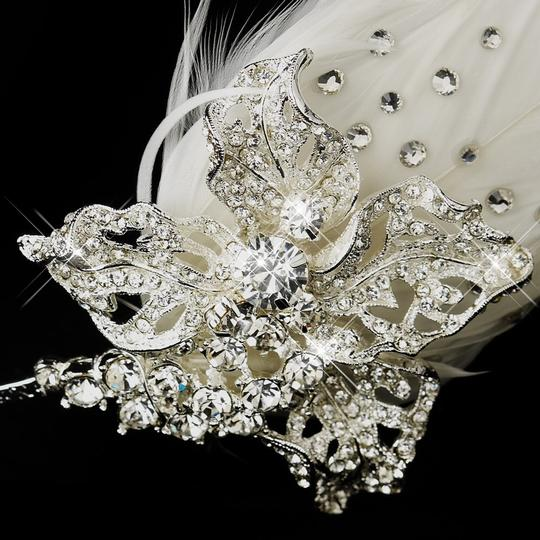 Silver Ivory Trendy Rhinestone Feather Side Accented Tiara