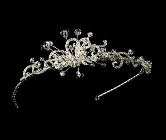 Silver Rhinestone Freshwater Pearl Side Accented Flower Tiara