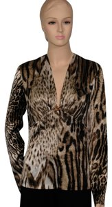 Roberto Cavalli Silk Leopard Top Brown