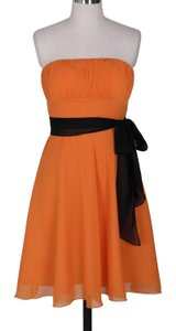 Orange Strapless Chiffon Pleated Bust W/ Sash Dress