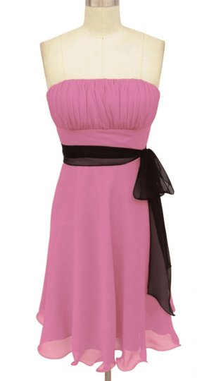 Pink Chiffon Strapless Pleated Bust W/ Sash Formal Dress Size 6 (S)