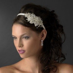 White Austrian Crystal and Bead Headband Tiara