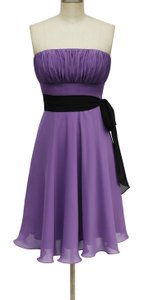 Purple Chiffon Violet Strapless Pleated Bust W/ Sash Formal Bridesmaid/Mob Dress Size 6 (S)