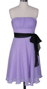 Purple Strapless Chiffon Pleated Bust W/ Sash Dress