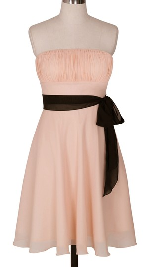 Peach Chiffon Strapless Pleated Bust W/ Sash Formal Bridesmaid/Mob Dress Size 6 (S)