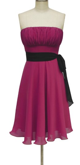 Red Chiffon Strapless Pleated Bust W/ Sash Formal Dress Size 6 (S)
