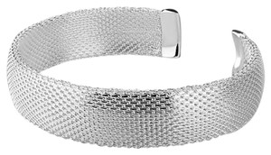 Sears NEW Solid Sterling Silver Mesh Cuff Bracelet with Sterling silver ends Beaitiful on the Wrist.