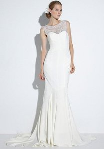 Nicole Miller Bridal Antique White Silk Lily / Lq1000 Formal Wedding Dress Size 10 (M)