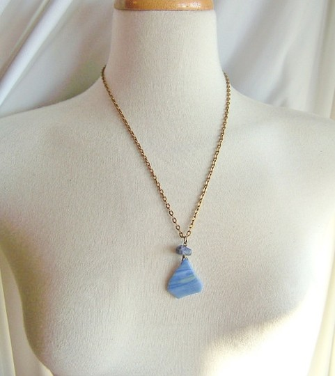 Other NWOT Blue Sea Glass Pendant Necklace Image 1