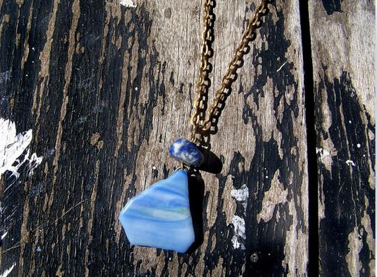 Other NWOT Blue Sea Glass Pendant Necklace Image 3