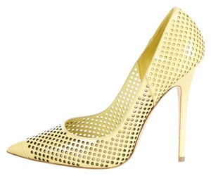 Jimmy Choo Perforated Patent Patent Leather Pointed Toe Clue Stiletto Embellished Anouk New 38.5 8 Yellow Pumps