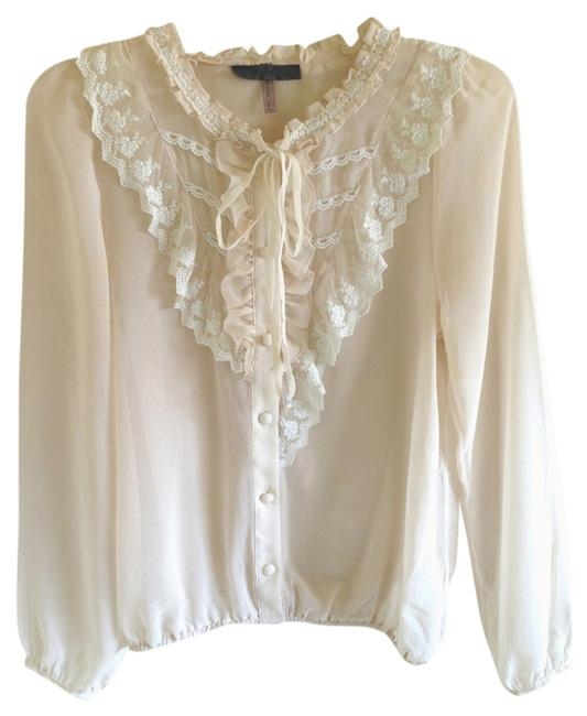 Item - Cream Lace Ruffle Detail Blouse Size 4 (S)