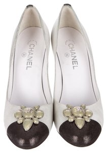Chanel Black Silver Silver Hardware Suede Leather Embellished Round Toe Camellia Floral Buckle Cc Logo Monogram Cap Toe 41 11 Silver, Black Pumps
