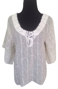 Anthropologie Embroidered Lace Net Top Ivory