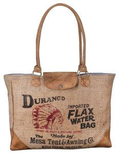 Colonial Tin Works Collection Leather Vintage Tote in Burlap