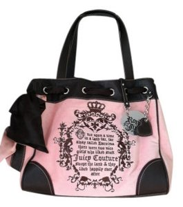 Juicy Couture Tote in Pink/ Chocolate Trim