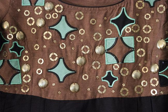 H&M Copper Brass Brown Turquoise Mid-thigh Linen Pleats Dress