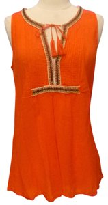 Gap Gauzy Beaded Sleeveless Top orange