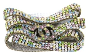 Chanel Sale ! CHANEL STAMPED '05A MULTI COLOR STRASS CRYSTAL LEATHER CC BELT