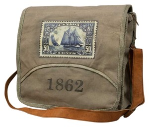 Colonial Tin Works Collection Vintage Leather Grey/Brown Stonewashed Canvas Messenger Bag