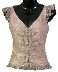 BCBG Max Azria Lace Lace Date Fancy Formal Classy Chic Party Ruffle Beige Top Silver Gold Metallic