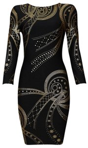 orilynn short dress black Bodycon Gold Mini Sexy Hugs The Curves on Tradesy