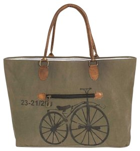 Colonial Tin Works Collection Vintage Leather Tote in Grey/Brown Stonewashed Canvas